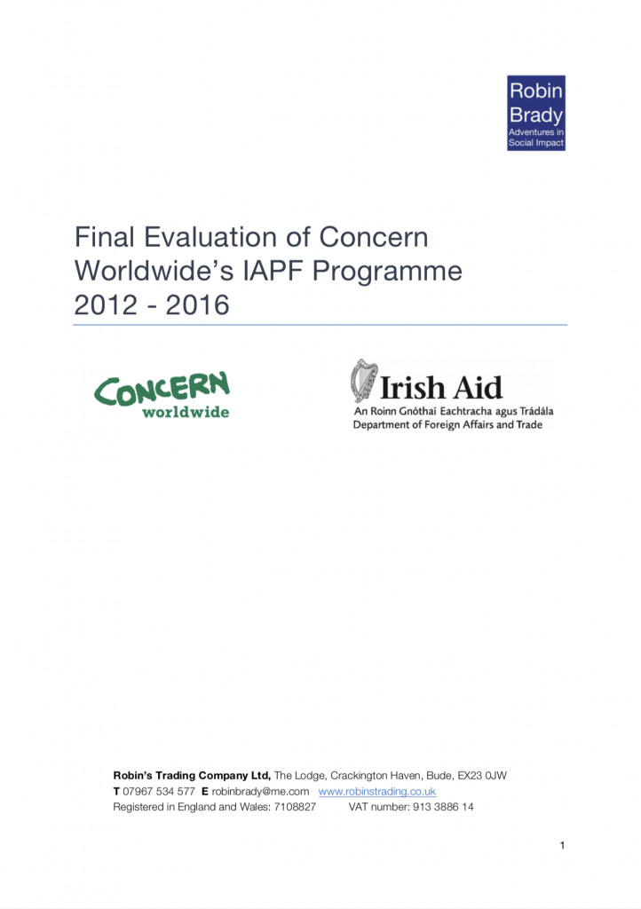 Final Evaluation of Concern Worldwide's IAPF Programme