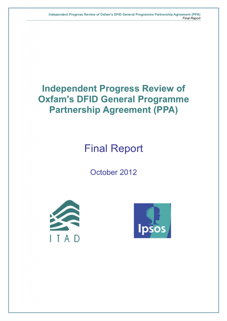 Independent Progress Review of Oxfam's PPA